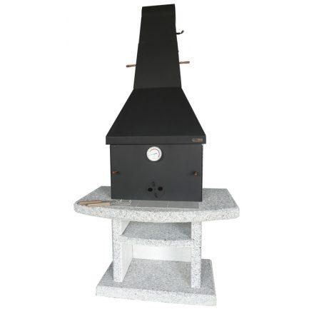 ATLANTIC SMOKER kerti kőgrill - füstölő - acél kupolával