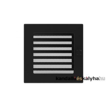 Egyszerű szellőzőrács fekete 17x17cm zsalus