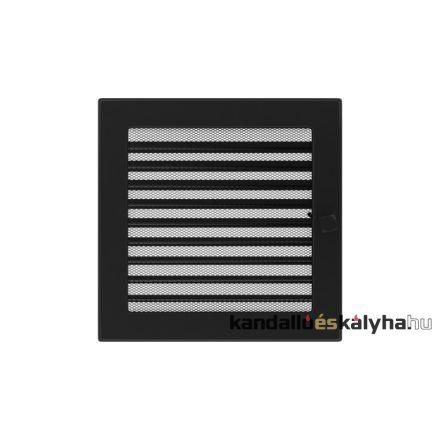 Egyszerű szellőzőrács fekete 22x22cm zsalus