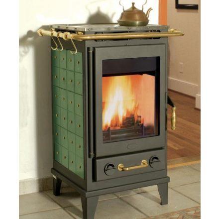 Fireplace florenz kerámia burkolattal / fekete kályhatest / 7 kw / 150-es füstcső csatlakozással