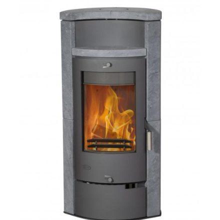 Fireplace hamburg zsírkő burkolattal / szürke kályhatest / 8 kw / 150-es füstcső csatlakozással